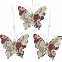 Schmetterling zum Hängen Metall Dekohänger 9cm Frühlingsdeko 6St