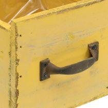 Deko-Schublade Vintage Pflanzgefäß Holz Gelb 12,5×12,5×11cm