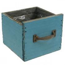 Pflanz-Schublade Blau Holzdeko Shabby Chic 12,5×12,5×11cm
