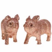 Deko Schwein Glitter Rosa 10cm 8St