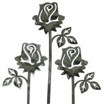 Metallstecker Rose Silber-Grau, Weiß gewaschen Metall 20cm × 8cm 12St