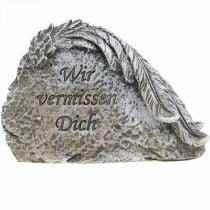 Grabschmuck Engelsflügel und Spruch Kunststein Grau 13cm 3St