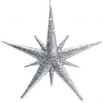Glitterstern zum Hängen Silber 13cm 12St