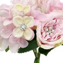 Strauß Rosa mit Perlen 29cm