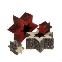 Holz Sterne Mix zum Streuen Rot, Grau 2cm 96St