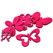 Streudeko aus Holz Pink 2cm - 4cm 72St