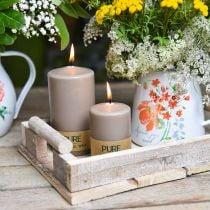Pure Stumpenkerze Braun 90/60 Naturwachs Kerze nachhaltig Stearin Raps Kerzendeko