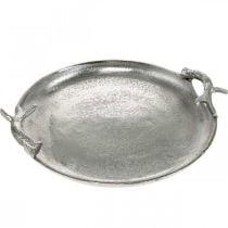 Deko Tablett Hirschgeweih Silbern Aluminium Rund Ø30cmH4,5cm