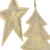 Metallanhänger Tanne und Stern, Christbaumschmuck, Weihnachtsdeko Golden, Antik-Optik H15,5/17cm 4St