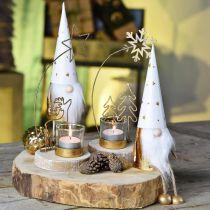 Wichtel Weihnachten Deko-Figur Weiß, Gold Ø6,5cm H22cm 2St