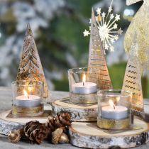 Teelichthalter Tannenbaum Metall, Glas Windlicht H15cm 3St