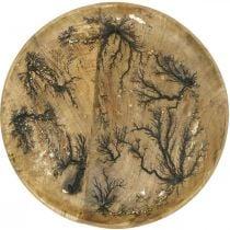 Deko Teller Holz Natur, Gold Crackle Effekt Mangoholz Ø30