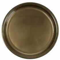 Dekoteller aus Metall Bronze mit Glasureffekt Ø50cm