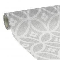 Tischband Vlies mit Muster Grau 30cm x 300cm