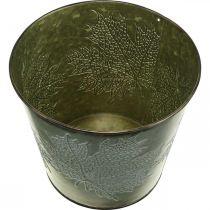 Deko-Eimer mit Blattdekor, Herbsttopf, Metalldeko Grün Ø17cm H14,5cm