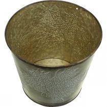 Übertopf für den Herbst, Blecheimer mit Blattdekor, Metallgefäß Golden Ø14cm H12,5cm