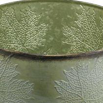 Pflanzgefäß, Metalltopf mit Ahornlaub, Herbstdeko Grün Ø25,5cm H22cm
