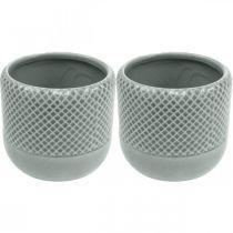 Pflanzgefäß mit Flechtmuster, Keramik-Übertopf, Keramiktopf Ø16cm 2St