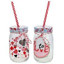 Trinkglas mit Deckel und Strohhalm H13,5cm 2St