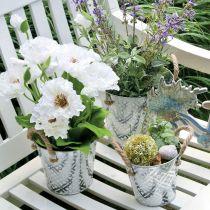 Übertopf mit Blumenmuster, Metalltopf zum Bepflanzen, Pflanztopf mit Henkeln Ø25,5cm