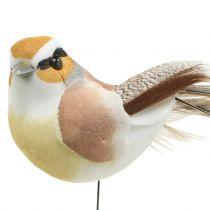 Vögel am Draht Natur 9cm 12St