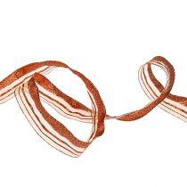 Weihnachtsband mit Streifen Kupfer 25mm 20m