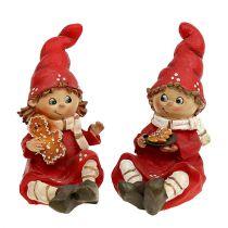 Weihnachtsfigur Kinder 11cm Rot 2St