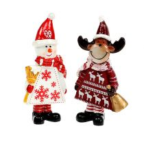 Weihnachtsfiguren Elch, Schneemann sort. 9cm 2St