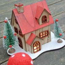 Weihnachtshaus mit LED-Beleuchtung Natur, Rot Holz 20×17×15cm