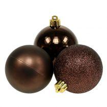 Weihnachtskugel Schokoladenbraun Mix Ø6cm 10St