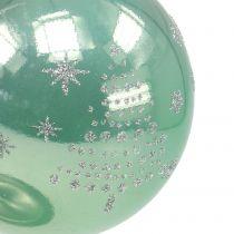 Weihnachtskugel mit Glitter Eukalyptus Ø8cm 6St
