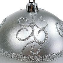Weihnachtskugel Silber Ø8cm Plastik 1St