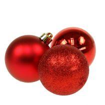Weihnachtskugel Kunststoff Rot 6cm 10St