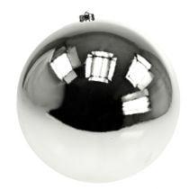 Weihnachtskugel Kunststoff groß Silber Ø25cm