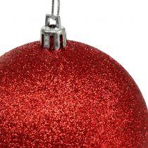 Christbaumkugeln aus Kunststoff Rot, Weiß Ø8cm 3St