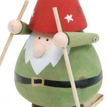Wichtel auf Ski Deko Figur Holz Weihnachten Wichtelfigur H13cm