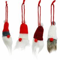 Wichtel mit Zipfelmütze zum Hängen Rot, Weiß, Grau L10–12cm 12St