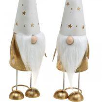 Wichtel Dekofigur Weihnachten Weiß, Gold 6,5cm H28cm 2St