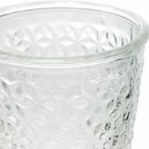 Windlicht Glas mit Fuß Klar Ø10cm H18,5cm Tischdeko