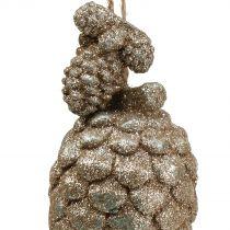 Zapfen mit Glitter Hellgold 14cm 3St