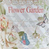 Sommerdeko Blumentopf Metall Rosen Übertopf Ø11,5cm H10,5cm
