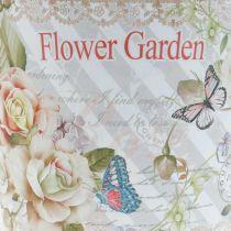 Blumentopf Metall Rosen Sommerdeko Übertopf Ø15cm H15,5cm