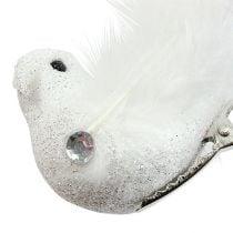 Deko-Vogel am Clip mit Glitzer Weiß 14cm 2St