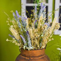 Künstlicher Lavendelbund, Seidenblumen, Feldstrauß aus Lavendel mit Ähren und Mädesüß