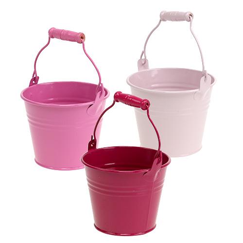 Deko eimer aus blech pink rosa 10cm 10st einkaufen in for Deko aus blech