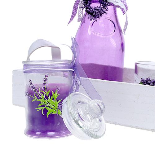 sommerdeko holztablett mit glas violett wei einkaufen in sterreich. Black Bedroom Furniture Sets. Home Design Ideas