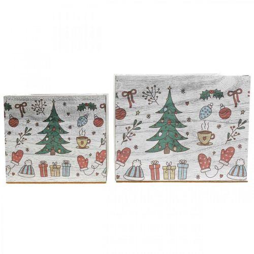 Pflanzgefäß Holz Weihnachtsdeko Weiß, Bunt 20×20/15×15cm 2er-Set