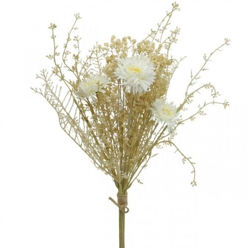 Blumenstrauß künstlich Astern und Schleierkraut Beige, Weiß 43cm