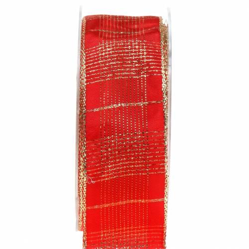 Schleifenband mit Drahtkante rot-gold kariert 40 mm breit  1 m