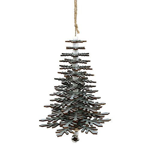 Baum zum Hängen Silber mit Glocke 40cm